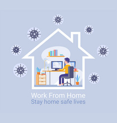 work from home protection from virus concept vector image