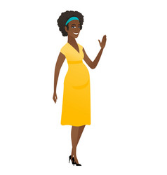 young african pregnant woman waving her hand vector image