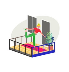 Young woman doing yoga exercises on her balcony vector