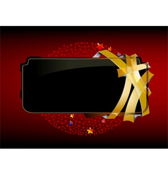 Beautiful black label with gold belt vector image vector image