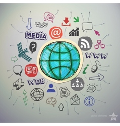 Hand drawn social media icons set and sticker with vector image