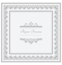Paper lace square frame vector