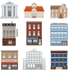 Buildings icons isolated on white vector image vector image