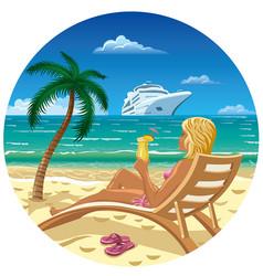 girl on the beach vector image