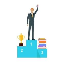 Person Standing on Winners Podium vector image