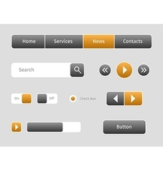 set of web buttons with outlines vector image