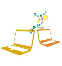 Social computer network vector image