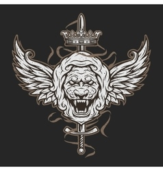 Vintage symbol of a lion head and wings vector image