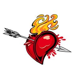 arrowed red heart vector image vector image