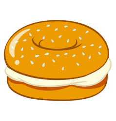 bagel with cream cheese vector image vector image