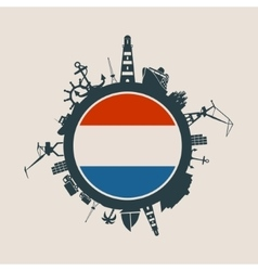 Cargo port relative silhouettes netherlands flag vector