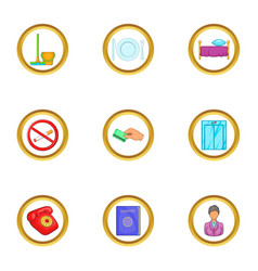 hotel service icons set cartoon style vector image vector image