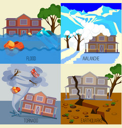 set of natural disasters banners tornado vector image