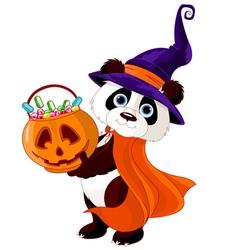 Halloween panda vector image vector image