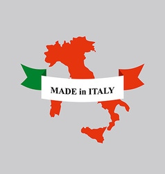 Made in Italy product logo Map of Italy and Ribbon vector image vector image