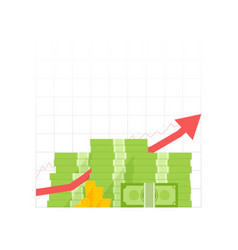 money growth icon pile dollar and gold coins with vector image