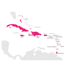 political map of carribean pink highlighted vector image