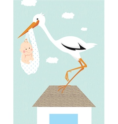 Stork and newborn baby on the roof vector image vector image