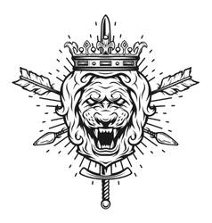 Vintage symbol of a lion head a crown vector