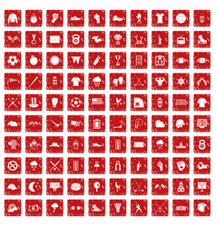 100 baseball icons set grunge red vector image