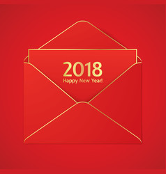 2018 new year greetig card with red envelope vector image