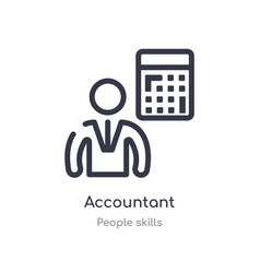 Accountant outline icon isolated line from people vector