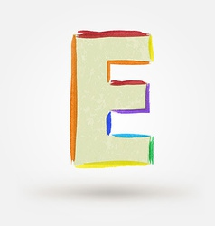 Alphabet letter E Watercolor paint design element vector image