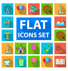 amusement park flat icons in set collection for vector image