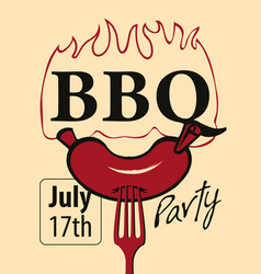 bbq party banner with a sausage on a fork vector image