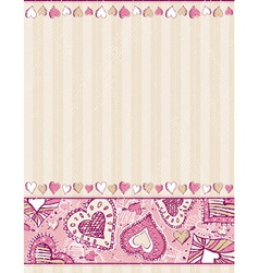 beige valentine background with hand draw hearts vector image