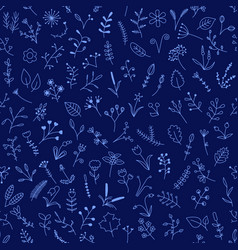 Blue seamless pattern with beautiful flowers vector