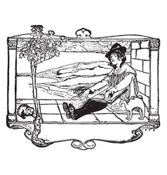 Bookplate badge vintage engraving vector