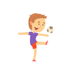Boy playing playing soccer kids physical activity vector