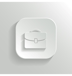 briefcase icon - white app button vector image