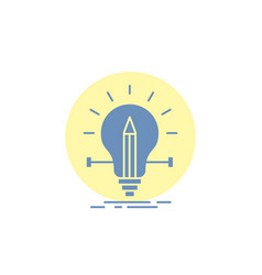 Bulb creative solution light pencil glyph icon vector