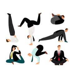 businessman yoga suit meditation and zen relax vector image