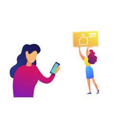 businesswoman using smartphone and thumb up icon vector image