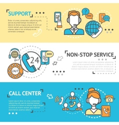 Call Center Banner Set vector image