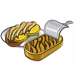 Canned smoked sprats vector