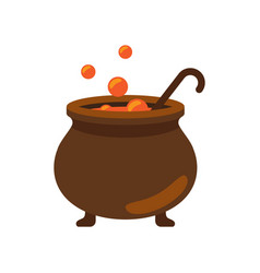 Closeup of witch cauldron on vector