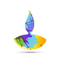 colorful diwali diya vector image