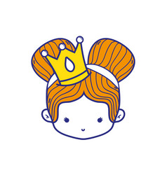 Colorful girl head with crown and two buns hair vector