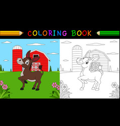 coloring book or page cute donkey in the farm vector image