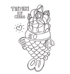 Coloring page withtaiyaki ice cream black outline vector
