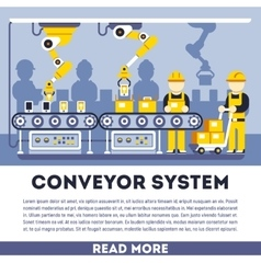 Conveyor system with manipulators flat vector image
