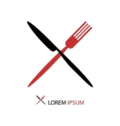 Crossed black and red flatware vector image