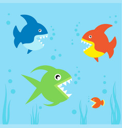 cute fishes collection vector image