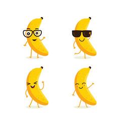 cute set of banana fruit character vector image
