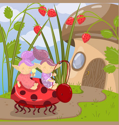 Cute troll characters riding on ladybug to vector