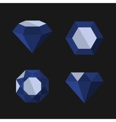 Dark Blue Diamond Icons Set vector image
